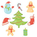 Christmas set vector illustration of doodle icon Royalty Free Stock Photo