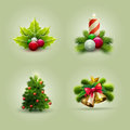 Christmas set vector illustration of icon vector ornament objects Royalty Free Stock Photography