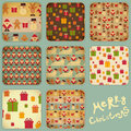 Christmas set of vintage backgrounds signs of santa claus snowman deer and gingerbread on retro background illustration Stock Images