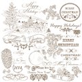 Christmas set of vintage decorative hand drawn elements for desi elegant design calligraphic vector Stock Image