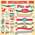 Christmas set - vintage ribbons, Stock Photos
