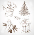 Christmas set xmas collection with hand draw holiday elements and merry lettering Royalty Free Stock Photos