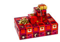 Christmas several parcels of gifts for are superimposed Royalty Free Stock Image