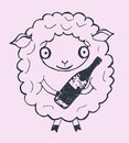 Christmas sheep with champagne Royalty Free Stock Photo