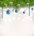 Christmas shimmering background with fir twigs and glass balls illustration Stock Photos