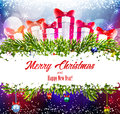 Christmas shiny background with gifts