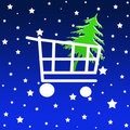 Christmas shopping cart Stock Images