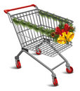 Christmas shopping cart Royalty Free Stock Photo