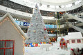 Christmas shopping decoration an interior view of a mall in chennai india for decorated with santha claus on a chariot with full Stock Image