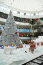 Christmas shopping decoration an interior view of a mall in chennai india for decorated with santha claus on a chariot with full Stock Images