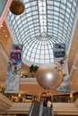 Christmas shopping dramatic skylight and mall experience Royalty Free Stock Images