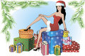 Christmas shopping girl Royalty Free Stock Images