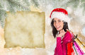Christmas shopping happy young girl with shopping bags winter theme Stock Photos