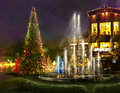Christmas shopping, romantic place for dinner Royalty Free Stock Image