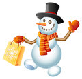 Christmas shopping snowman a happy with bag vector illustration Stock Image