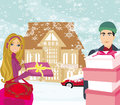 Christmas shopping on a snowy day illustration Royalty Free Stock Photography
