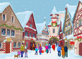 Christmas shopping street at winter day Stock Photos