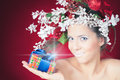 Christmas shopping with winter woman, hairstyle and makeup, magical fairy Royalty Free Stock Photo