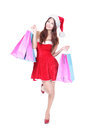 Christmas shopping woman in full length Stock Photography