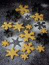 Christmas shortbread cookies in the form of snowflakes sprinkling sugar and cookie cutters. Xmas card concept. Royalty Free Stock Photo