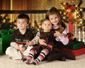 Christmas Siblings Royalty Free Stock Photos
