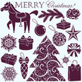 Christmas silhouettes set vector new year Stock Photo