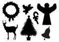 Christmas silhouettes set of on white background Stock Photos