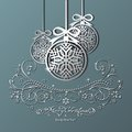 Christmas silver balls on a burgundy background decorated pattern Royalty Free Stock Images