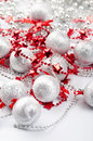 Christmas silver balls and red stars Stock Photo