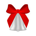 Christmas silver bell with red bow Royalty Free Stock Photo
