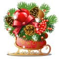 Christmas sketch with decor of golden ice skates with fir twigs, red ribbon bow, baubles, snowflake and pinecones Royalty Free Stock Photo