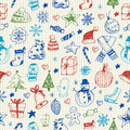 Christmas sketchy seamless pattern Royalty Free Stock Photo