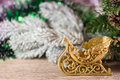 Christmas sledge on wood background Royalty Free Stock Image