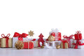 Christmas small gift boxes and Christmas decorations Royalty Free Stock Photo