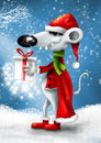 Christmas smiling cartoon mouse with gift Stock Photos