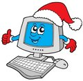 Christmas smiling computer Royalty Free Stock Photo