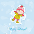Christmas snow angel baby card for invitation congratulation hand drawn in Stock Images