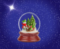 Christmas snow ball or glass globe. Snowman with gifts. Royalty Free Stock Photo
