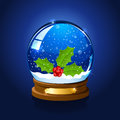 Christmas snow globe with holly berry Royalty Free Stock Photo