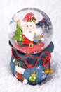 Christmas snow globe with santa claus decoration on Stock Photo