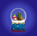 Christmas snow globe. Snowman with gifts. Royalty Free Stock Photo