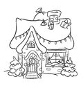 Christmas snow house coloring pages illustration cartoon Royalty Free Stock Photography