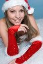 Christmas Snow Woman Stock Photo