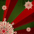Christmas snowflake on retro background green red Royalty Free Stock Photos