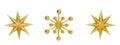 Christmas snowflake star hanging decoration xmas toys golden decorative ornate isolated over white background Stock Images