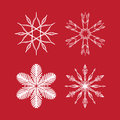 Christmas snowflake vector set, stars and frosty symmetrical patterns