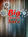 Christmas snowflakes with big sale over wooden background eps Royalty Free Stock Images