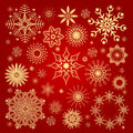 Christmas snowflakes collection illustration red backgrounds Stock Photos