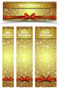 Christmas snowflakes gold web banners four sixes of snowflake with copy space easy to modify Royalty Free Stock Image
