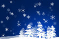 Christmas snowflakes illustration of a tree in the snow on a blue background Royalty Free Stock Photo